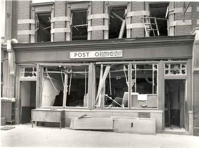 Flying Bomb damage to Brixton Post Office on Acre Lane, 1944.
