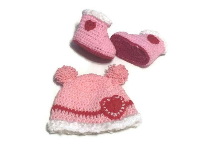 Excited to share the latest addition to my #etsy shop: Baby Valentine Gift Set, Newborn Girl Hat/ Boots w hearts double pompoms, Girl Shower Pink Infant Crochet Boots/ Cap, Newborn 3 6 months old http://etsy.me/2DgVXaN