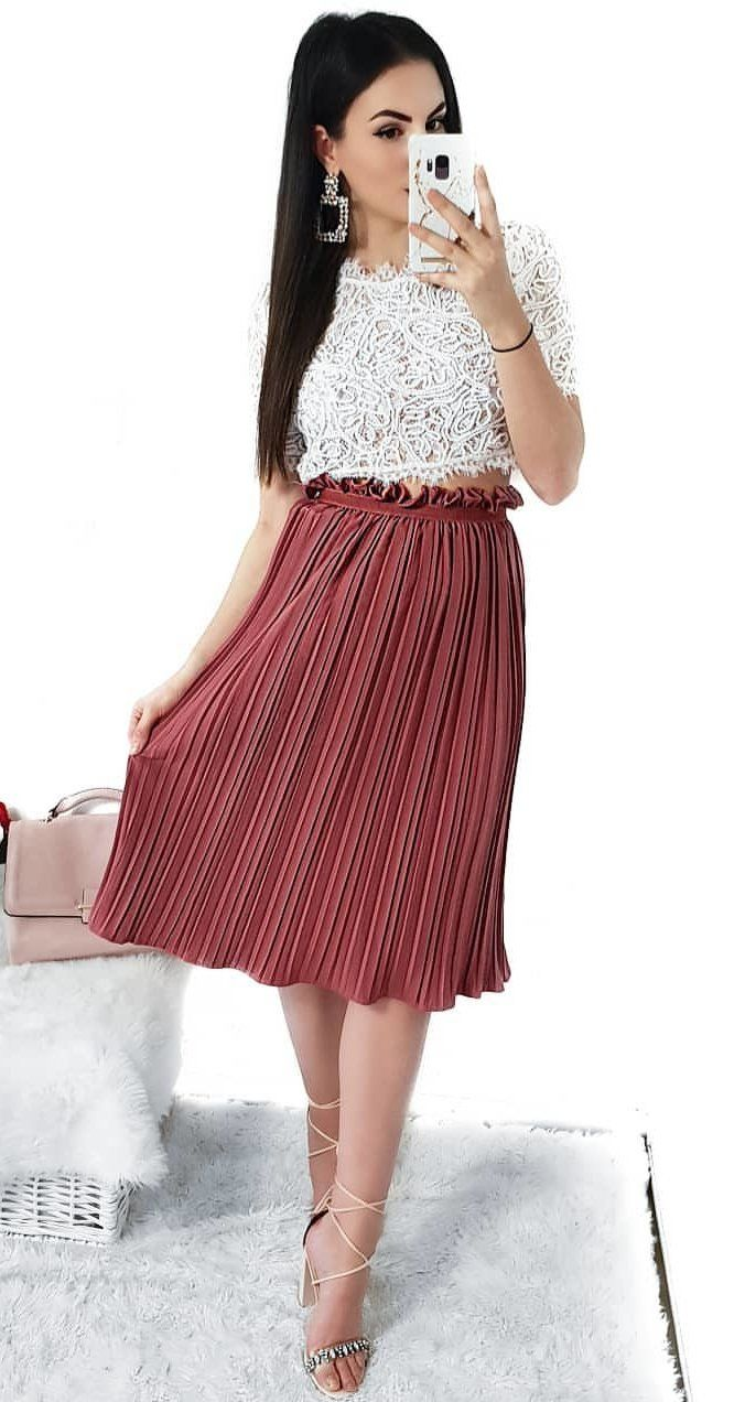 red accordion skirt and white lace half-sleeved shirt #spring #outfits