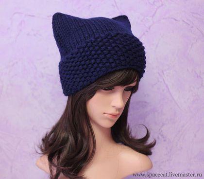 Шапка с ушками Кошка вязаная унисекс (женская, мужская), темно-синяя -