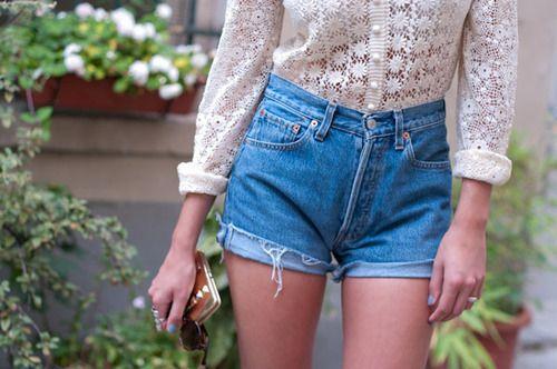 clothes, demin shorts, fashion, girl, high waisted