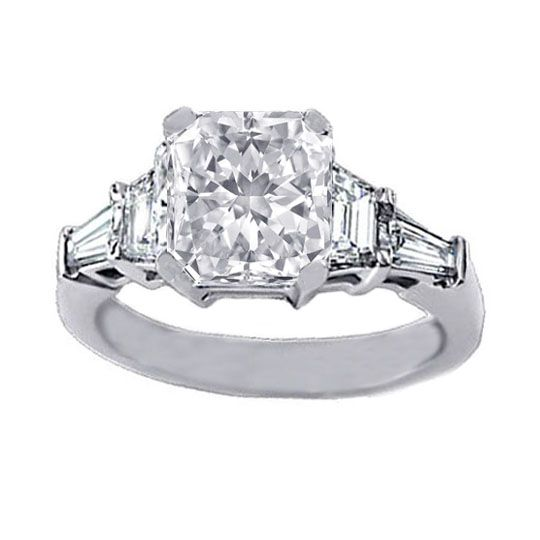 radiant cut diamond engagement ring setting with trapezoids and baguettes 060 tcw - Cute Wedding Rings