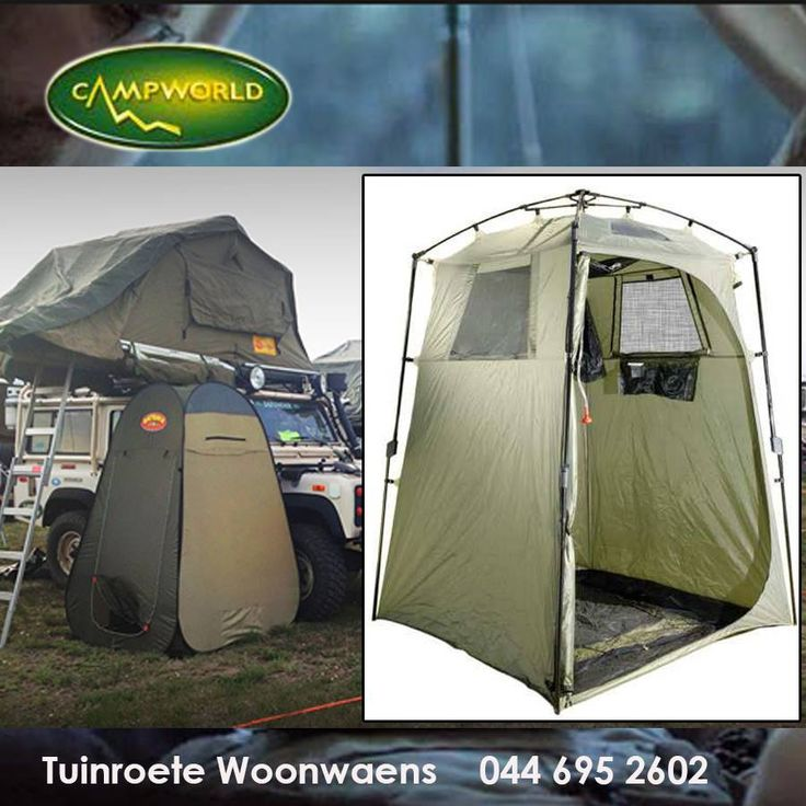 This Privy Cubicle Tent is perfect for your Porta-Potti outdoor toilet or as a shower. Complete with hanging 15lt solar shower and compartments for shampoo's. Contact Tuinroete Woonwaens to find out more about this product. #camping #outdoorliving #tents