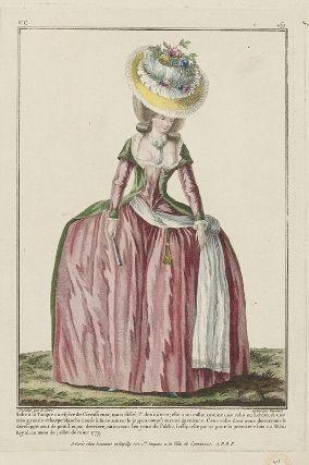 """""""Robe à la Turque ou espèce de Circassienne, mais différa.te des autres; elle a un collet comme une robe en Lévite, et une très grande écharpe blanche nouée à la ceinture; le juppon coupé; aucune garniture. Cette robe dont nous donnerons le développement de profil et par derriere, attira tous les yeux du Public, lorsquelle parut pour la premiere fois au Palais Royal, au mois de juillet dernier 1779"""", Gallerie des Modes, 1779; MFA 44.1436"""