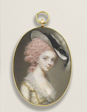 Pink hair really appeared in the eighteenth century, and not necessarily in frivolous French women. On the miniature 1784 in her hair that color poses an Englishwoman, Mary Lewin Mary Lewin by John Smart La reine de rétro : Zachwycający sierpień.