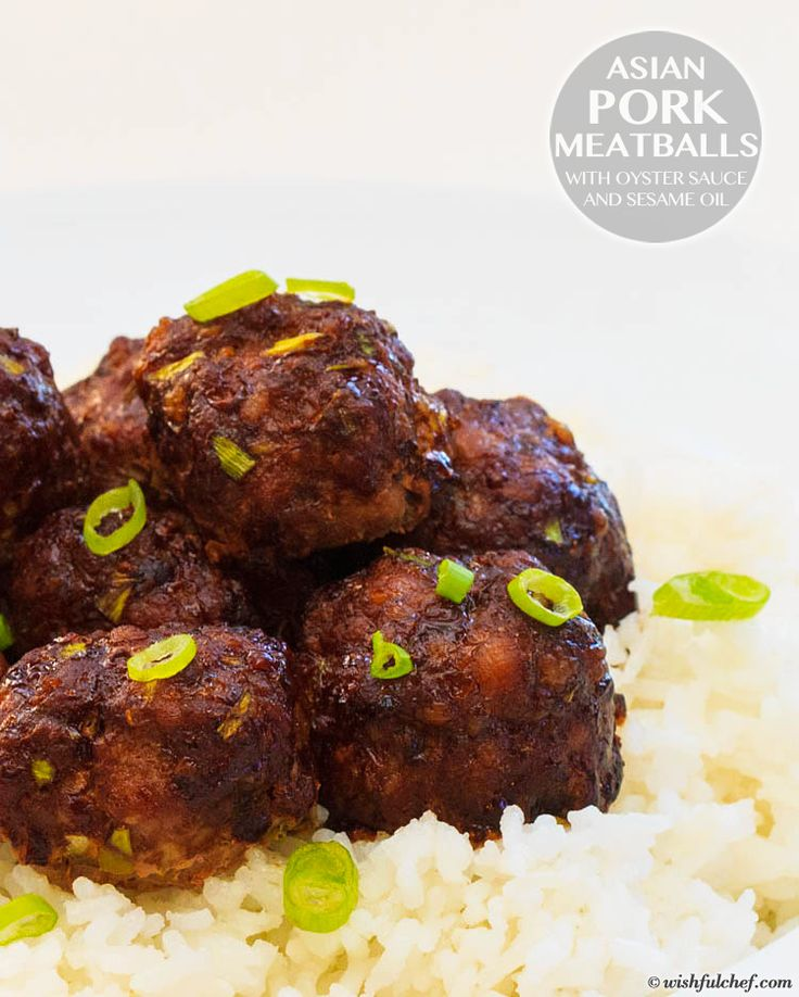 Asian Pork Meatballs with Oyster Sauce and Sesame Oil