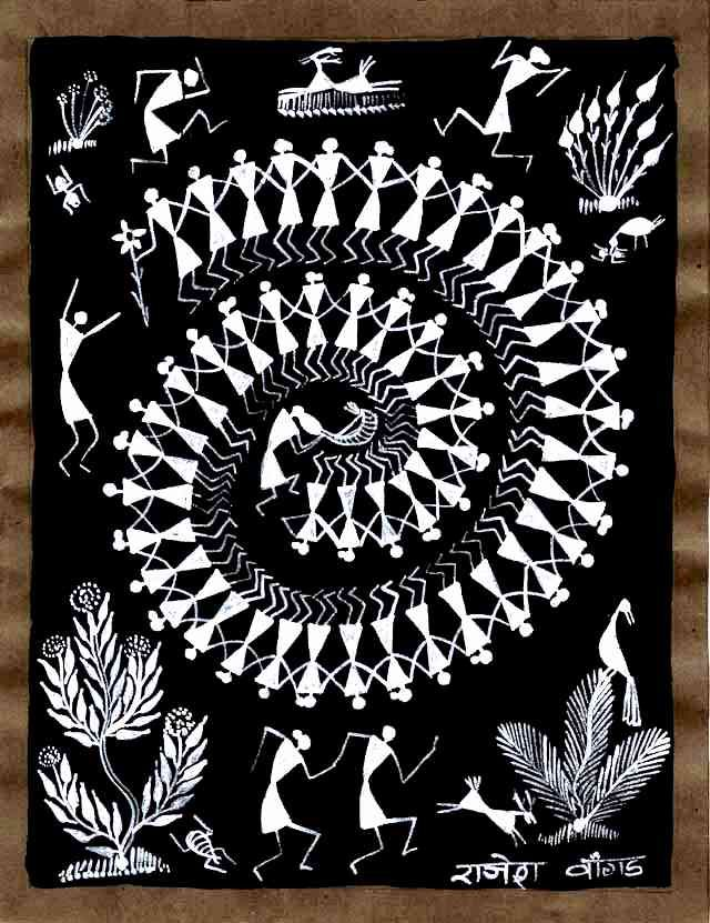 Warli painting on a black background
