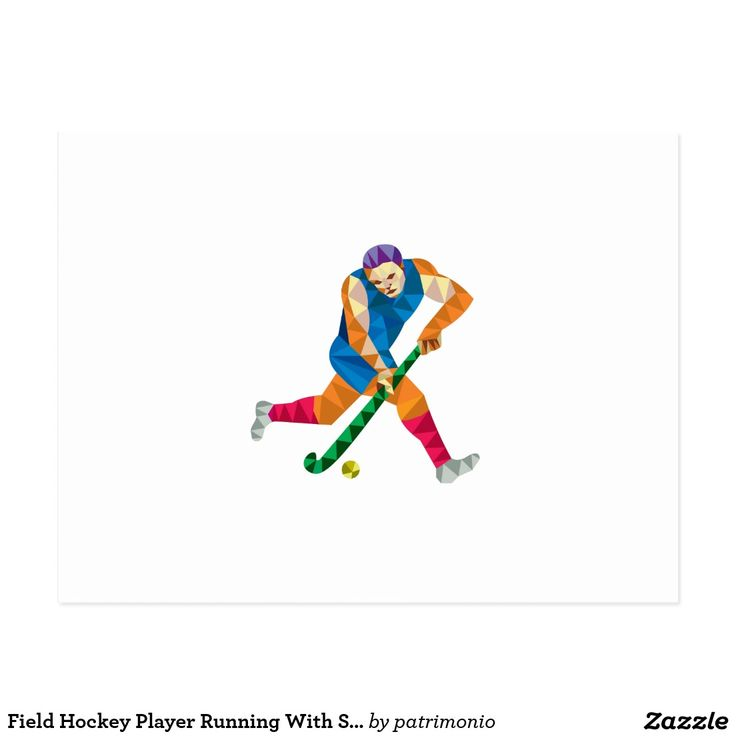 Field Hockey Player Running With Stick Low Polygon Postcard. Low polygon style illustration of a field hockey player running with stick striking ball viewed from side set on isolated white background. #fieldhockey #olympics #sports #summergames #rio2016 #olympics2016