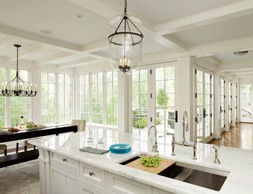 Marvin Windows traditional craftsman kitchen - look at all those windows and doors!! Love all that natural light! XO