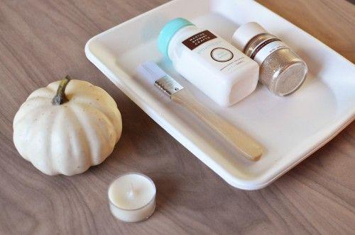 foam gourd/ use glass votive or tea holder. coat w/ glue and glitter