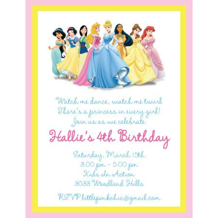 princess party invitation wording | disney princess birthday, Birthday invitations