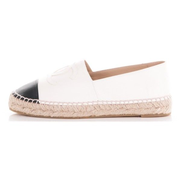 CHANEL Lambskin Espadrilles White Black 38 ❤ liked on Polyvore featuring shoes, sandals, black white shoes, black and white shoes, chanel espadrilles, slim shoes and chanel footwear
