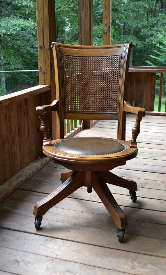 Vintage Wood Oak Office Chair Swivel, Wheels, Cane Back, Vinyl Seat
