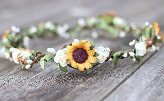 Boho Hair Wreath SunFlower Crown Hair Wreath Flower Girl Crown