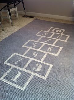 Hopscotch Rug. Ikea White (cream) Erslev Rug Dyed Grey And Stenciled With  White