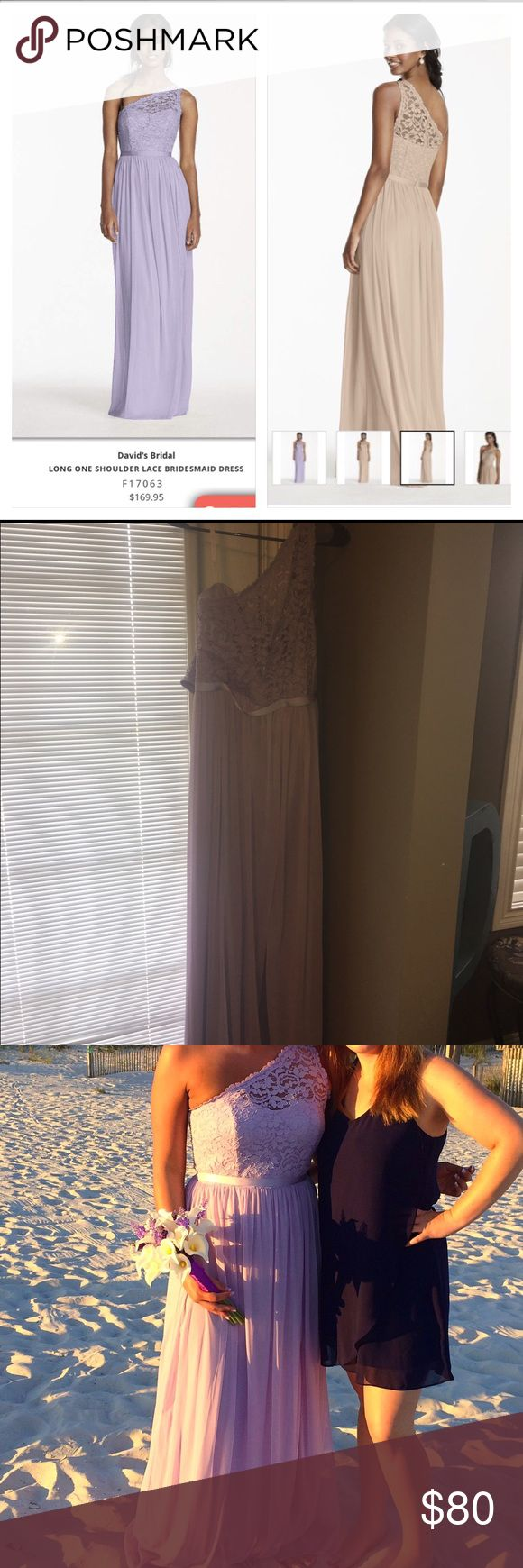 Iris One Shoulder Lace Bridesmaid Dress Ladies one shoulder Davids Bridal one shoulder Lace bridesmaid dress. Worn once. Had small run in front of dress (last photo) but can't really tell when it's on because the dress is a flowy dress and small stain on lower back part of dress near ankles. Again, not very noticeable (last photo), photo looks bright because of flash. Size 10. Purchased from Davids Bridal for $170. Color is considered iris - light purple color. Third photo is actually me…