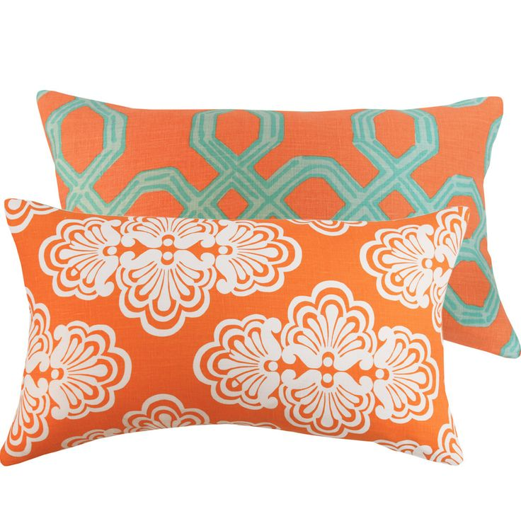 Orange And Aqua Lilly Pulitzer Fabric Pillow Cover 12x20