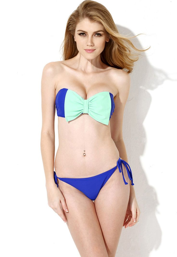 Royal Blue Bandeau Top Bikini Swimwear with A Playful Bow 18.17