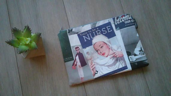 Check out this item in my Etsy shop https://www.etsy.com/ca/listing/581963023/large-retro-nurses-print-pouch-large