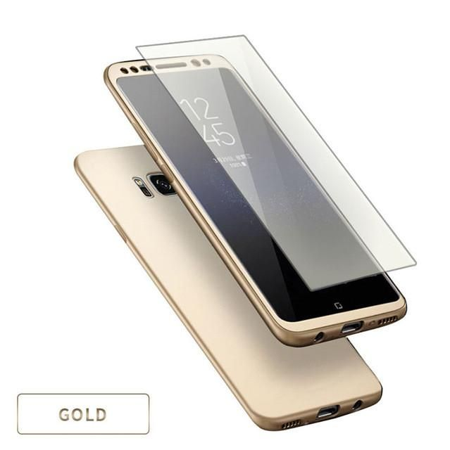 360 Full Body Protection Cover + Glass Film Phone Cases For Samsung Galaxy S8 Plus 2 in 1 Shockproof Armor Case Soft Shell