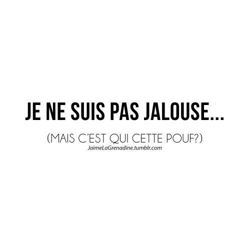 Je ne suis pas jalouse… (Mais c'est qui cette pouf?) - #JaimeLaGrenadine #citation #jalousie #amour #love