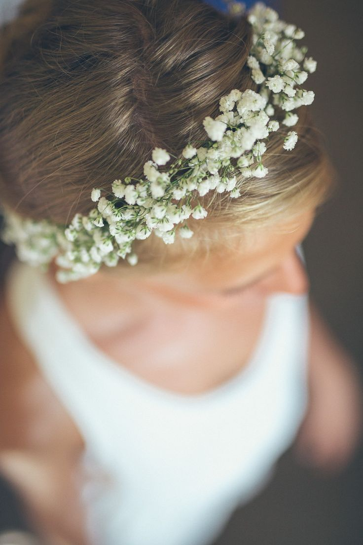 Bride wears a gypsophila flower crown -   Image by  Street Focus Photography - A french boho wedding with the bride wearing Rime Arodaky and Zara with bridesmaids in Topshop and gypsophila flowers.