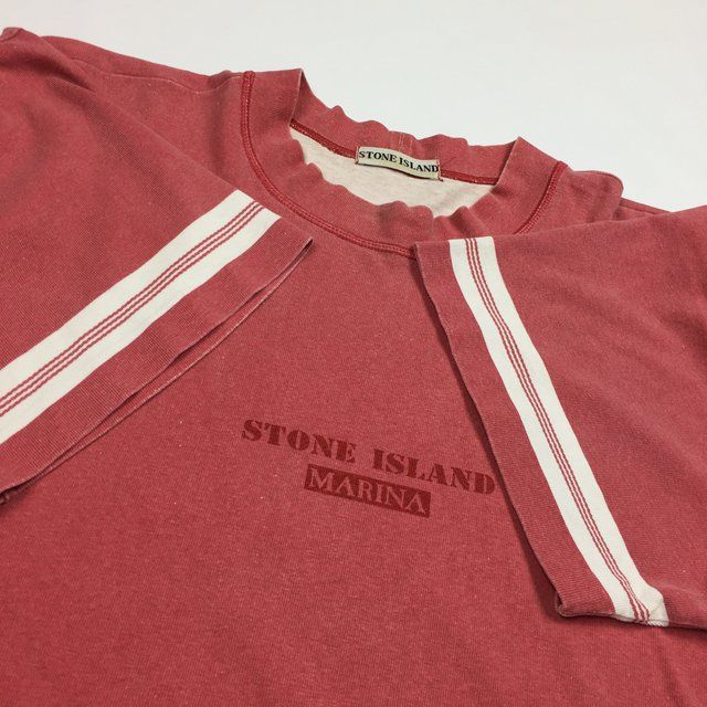 Stone Island Marina Vintage T-Shirt From 80s/90s. Faded red and size medium, fits like a large. Good condition considering age, light general fading and one small hole on the back of the collar. RARE PIECE. Looking for OFFERS • Feel free to message with any qs • - Depop