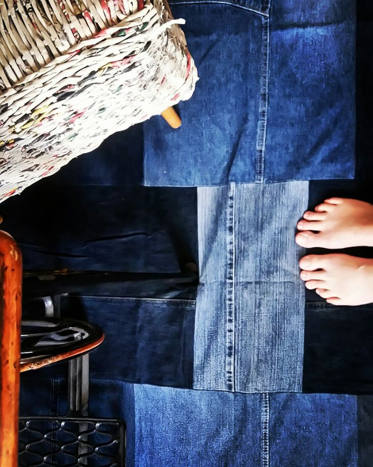 Large area salvaged denim rag rug, amazing denim, handmade in Slovakia, made to order