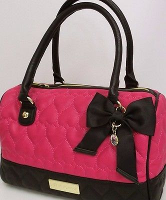 Betsey Johnson Speedy Satchel Quilted Hearts Be Mine HandBag Pink ...