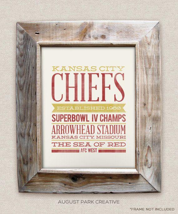 Kansas City Chiefs  8x10 Rustic  Vintage Style  by AugustPark, $12.00