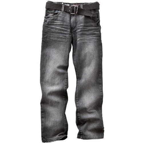 Urban pipeline men's jeans slim fit straight leg belted grey wash ...