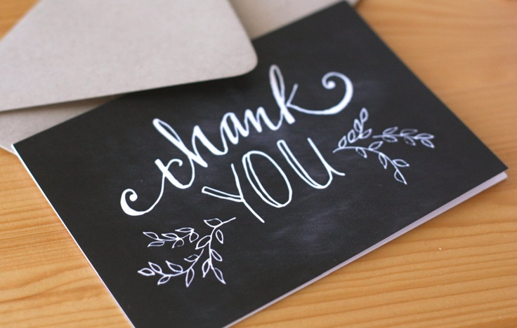 Hand-lettered Thank You cards, chalkboard Thank You cards, Set of 8. $12.00, via Etsy.