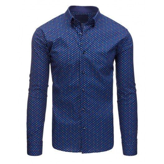 Tmavě modrá pánská košile se vzorem a dlouhým rukávem - manozo.cz