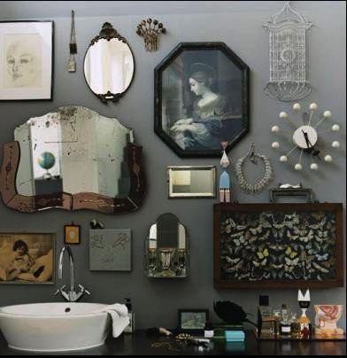 Bathroom curiosities - Natural History display on dark gray walls.