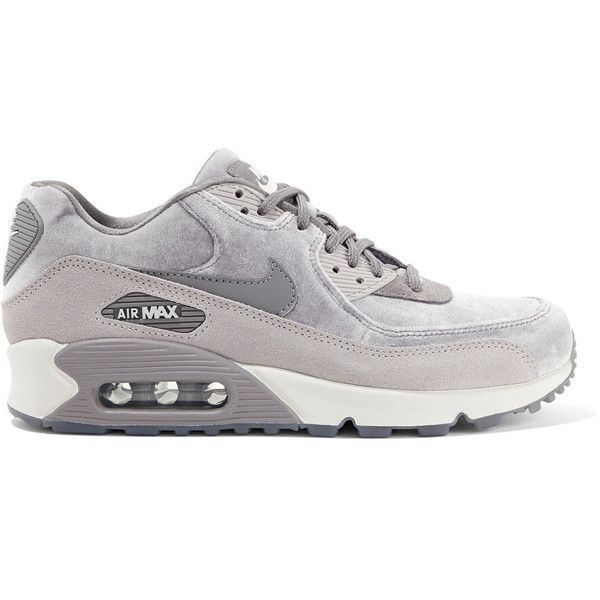 Nike Air Max 90 suede-trimmed velvet sneakers ($120) ❤ liked on Polyvore featuring shoes, sneakers, grey, nike, velvet shoes, velvet sneakers, nike trainers and gray shoes