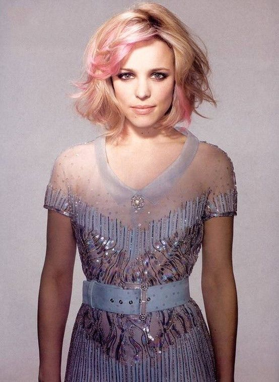 Rachel McAdams, Pink Hair, Lace and Sequins