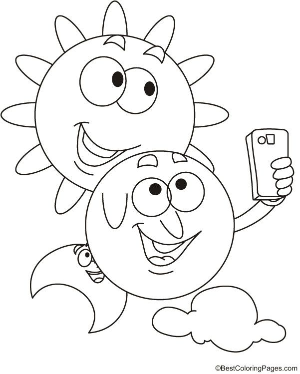 Sun And Moon Selfie Coloring Page Moon Coloring Pages Coloring