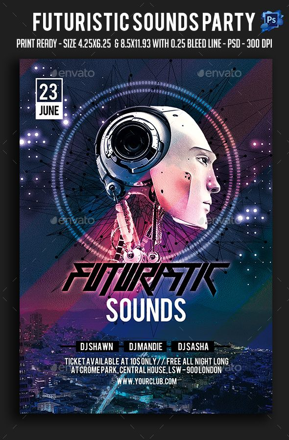 Futuristic Sounds Party Flyer — Photoshop PSD #abstract #artistic • Available here → https://graphicriver.net/item/futuristic-sounds-party-flyer/19205658?ref=pxcr