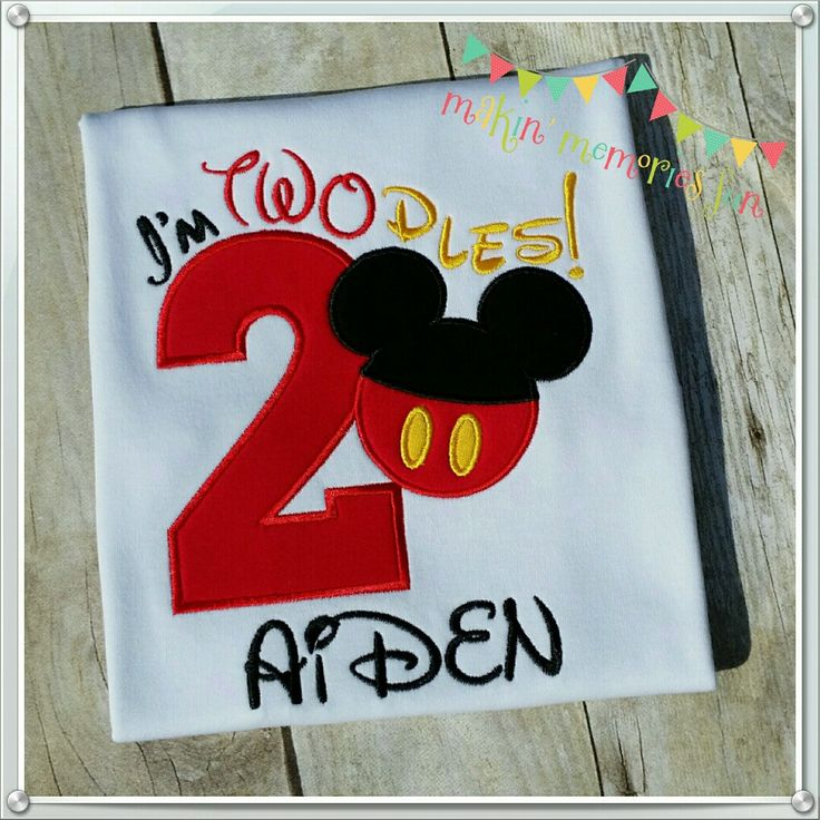 Mickey Mouse themed 2nd birthday party shirt, I'm TWOdles!