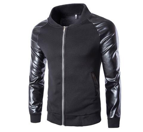Faux Leather Metal Zipper Jacket