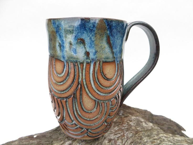 Blue Hand carved Round line design Mug (750)  Line Design, Mugs and Hands