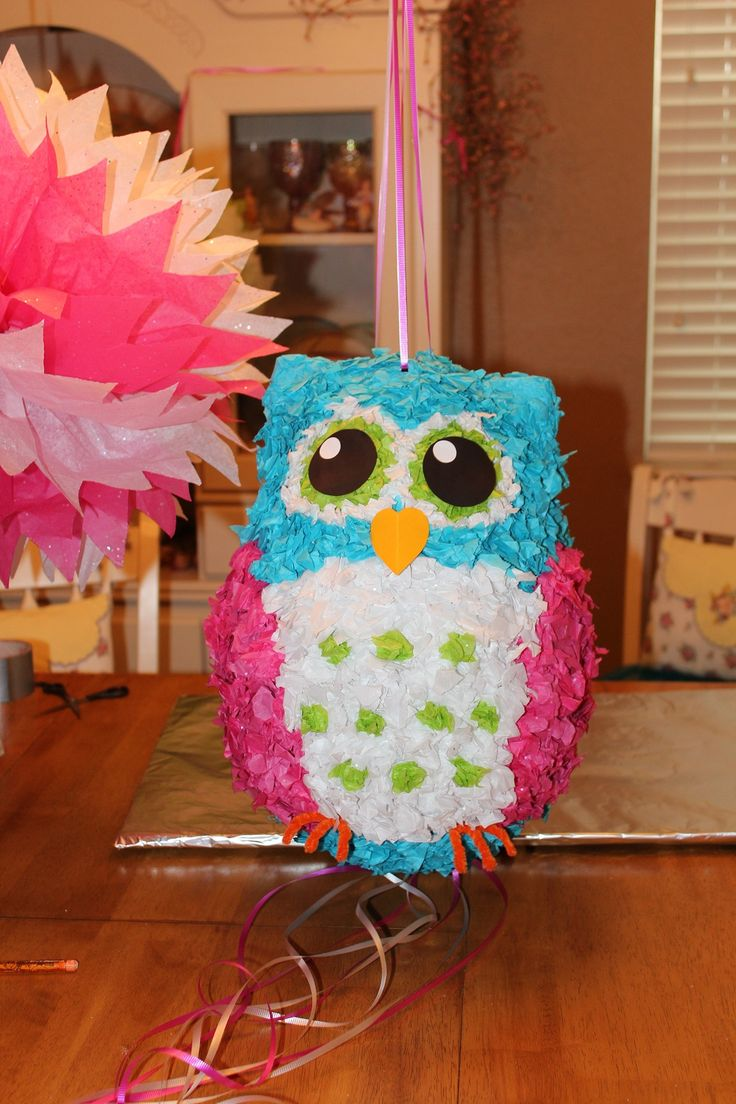Pull string owl pinata that I just made for Briella's birthday!