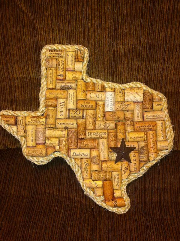 The Texas shaped wine cork board is cool. Cool Wine Cork Board Ideas, http://hative.com/cool-wine-cork-board-ideas/,