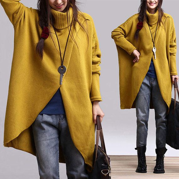 Irregular Hem Cotton Sweater Knitwear Knitted Tops Woman Coat Outwear- Yellow - Women Clothing