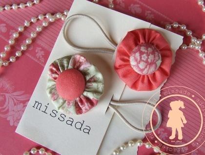 Fabric flower hair ties - vintage peach and floral lime: Fabric Flowers, Hair Ties, Vintage Peach, Flower Hair