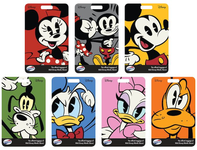 New Disney Character luggage tags that coordinate with customized Disney World Magic Band colors.