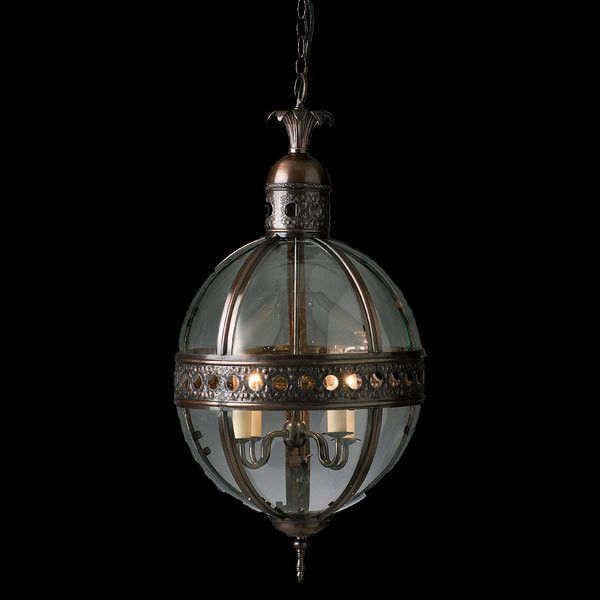 This beautifully detailed lantern comes in Antique Silver or Bronze.  Add filament lamps from our range to create an ambient oil lamp effect.  Finishes  Antique Bronze Antique Silver  Dimensions:  H - 700mm, D - 410mm, Chain - 750mm Globe 240V 40W (not included)