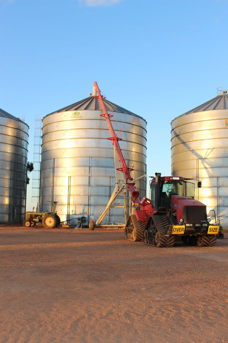 Set up for the truck to unload the canola into the silo.