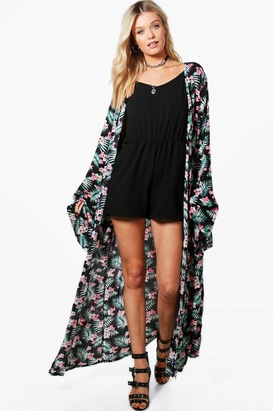 Esme Tropical Print Maxi Kimono