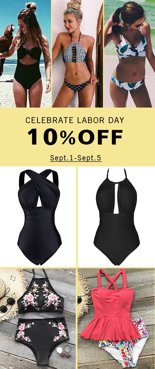 Labor Day's coming~ 10% OFF for ALL swimsuits from Sept.1 to Sept.5! Fabulous experience with Cupshe. FREE shipping. Pack them and take your beachlook to next level~